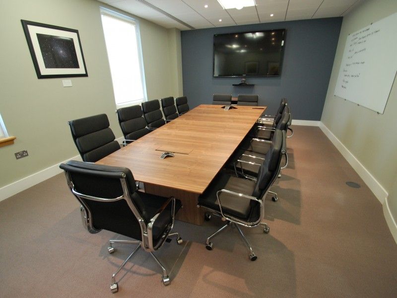 Applied Systems Boardroom Table walnut veneer bespoke furniture